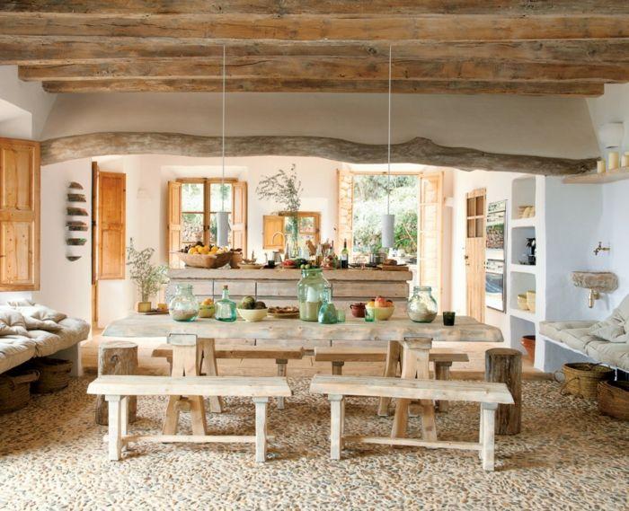 rustikale möbel küche wohnzimmer esstisch moderne hängeleuchten - landhausstil rustikal wohnzimmer
