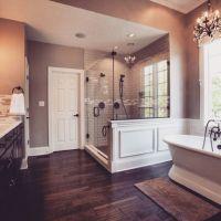 "Beautiful master bath. Love the ""hardwood"" tiles, gorgeous ..."