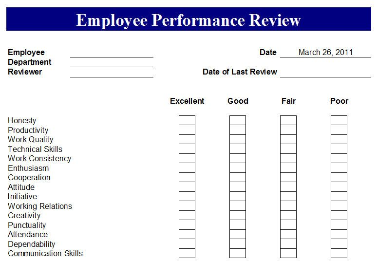 Annual Employee Evaluation Forms Free | Create A Cool Resume