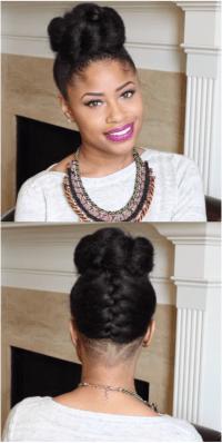 natural hair french braided bun with undercut using ...