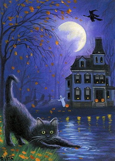 Beautiful Girl Wearing Hat Wallpaper Black Cat Halloween Ghost Witch Haunted House Moon