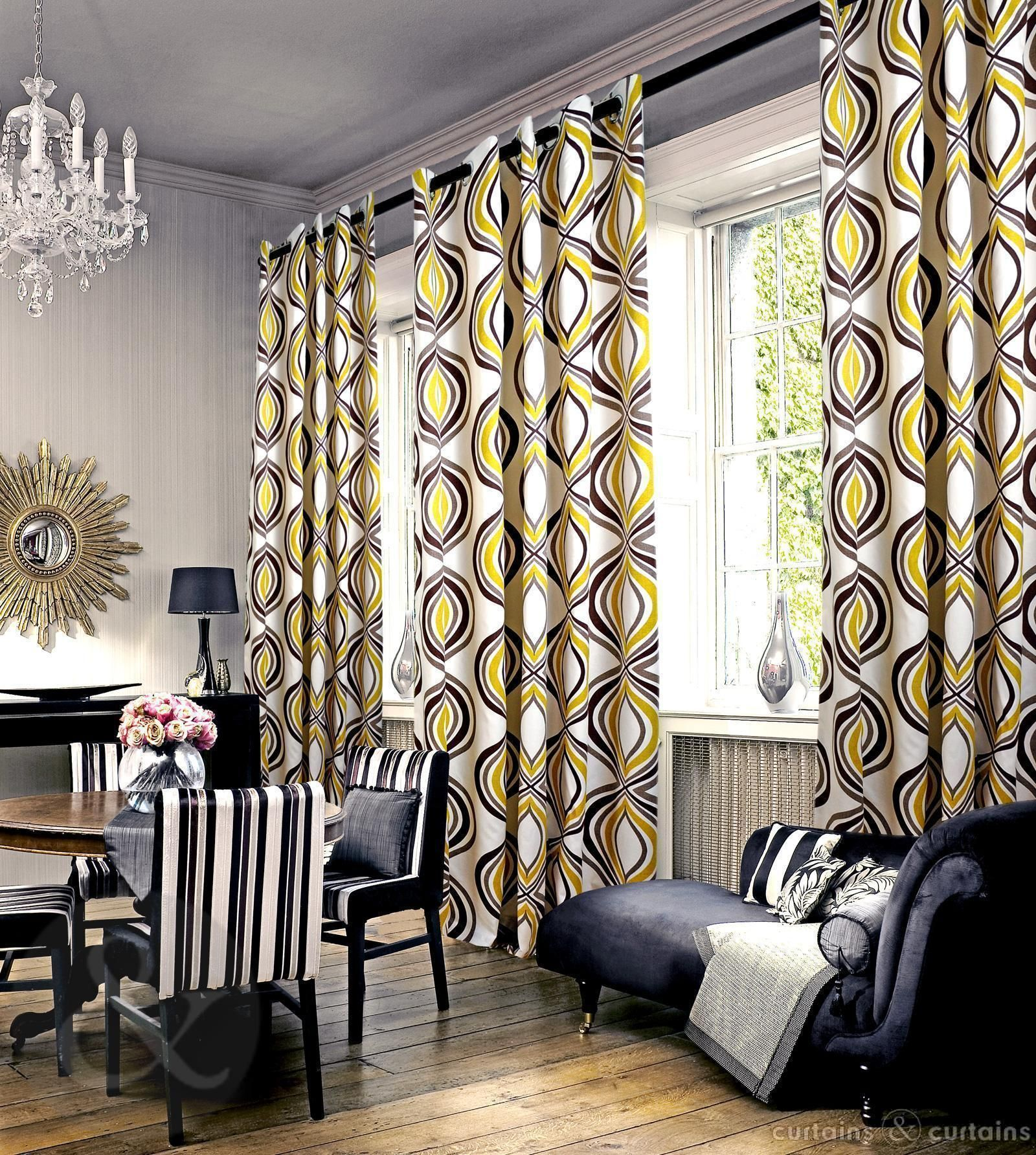 Kitchen Curtains For Yellow Walls Imperial Mustard Yellow Eyelet Luxury Lined Curtain