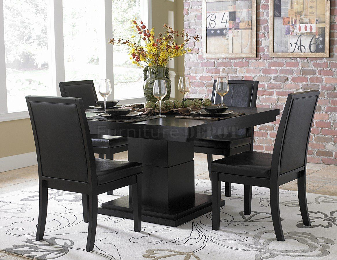 modern kitchen table Black Finish Modern Dining Table w Optional Side Chairs