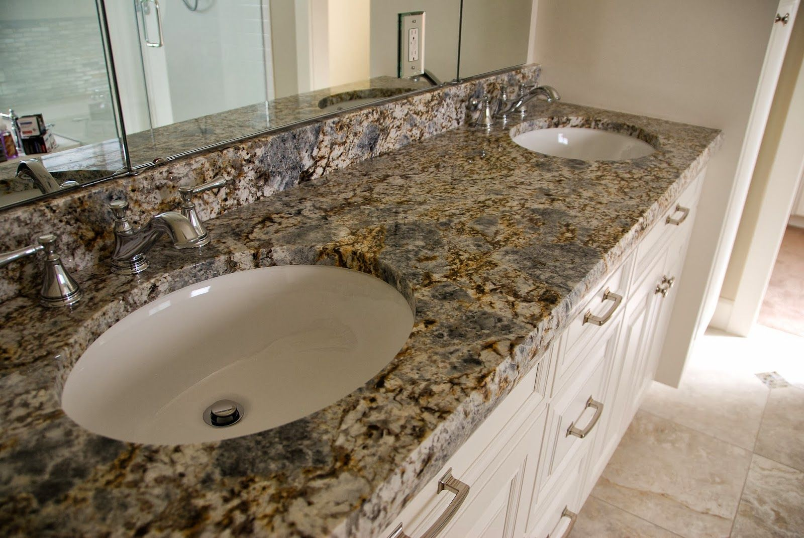 Best Countertops For Bathrooms Terra Grey Blue Flower Granite Bathroom Vanity With