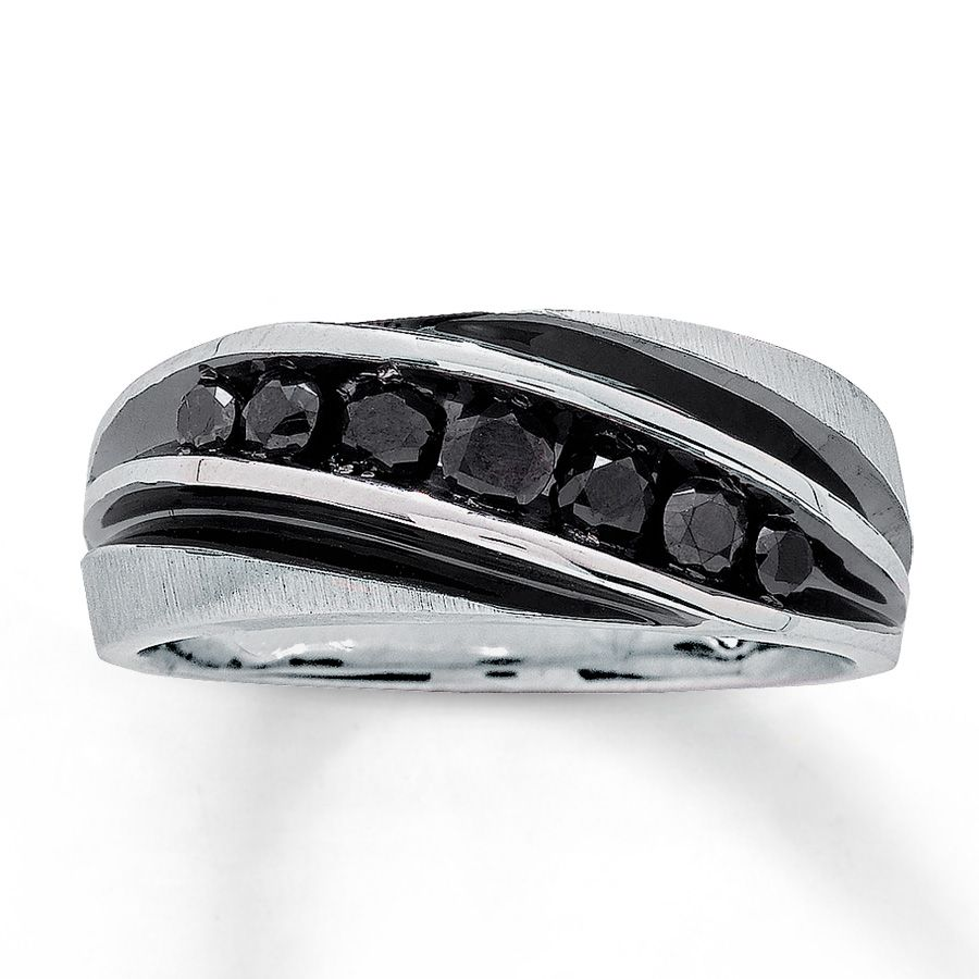 vitalium wedding band Jared Men s Black Diamond Band 3 4 ct tw Round Cut 10K White