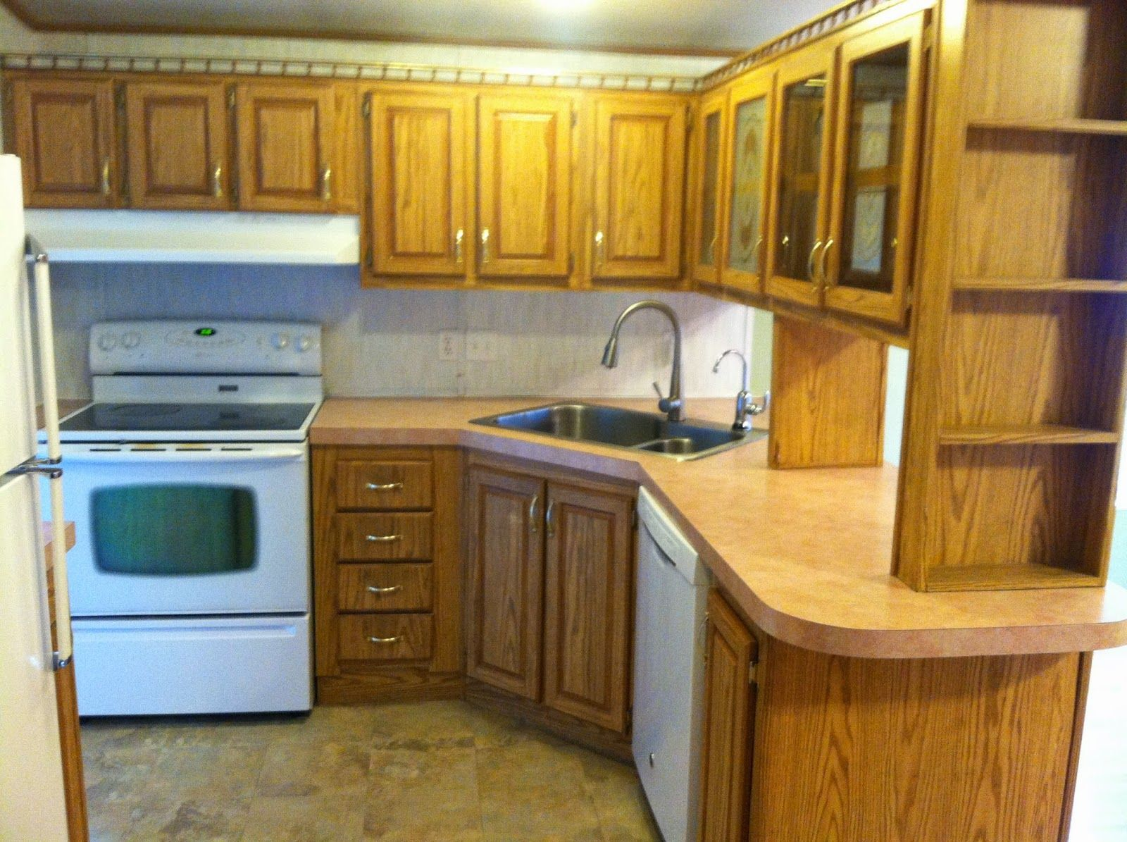 How To Paint Kitchen Cabinets In Mobile Home Roughly 150 Kitchen Makeover Mobile Home Painting Fake