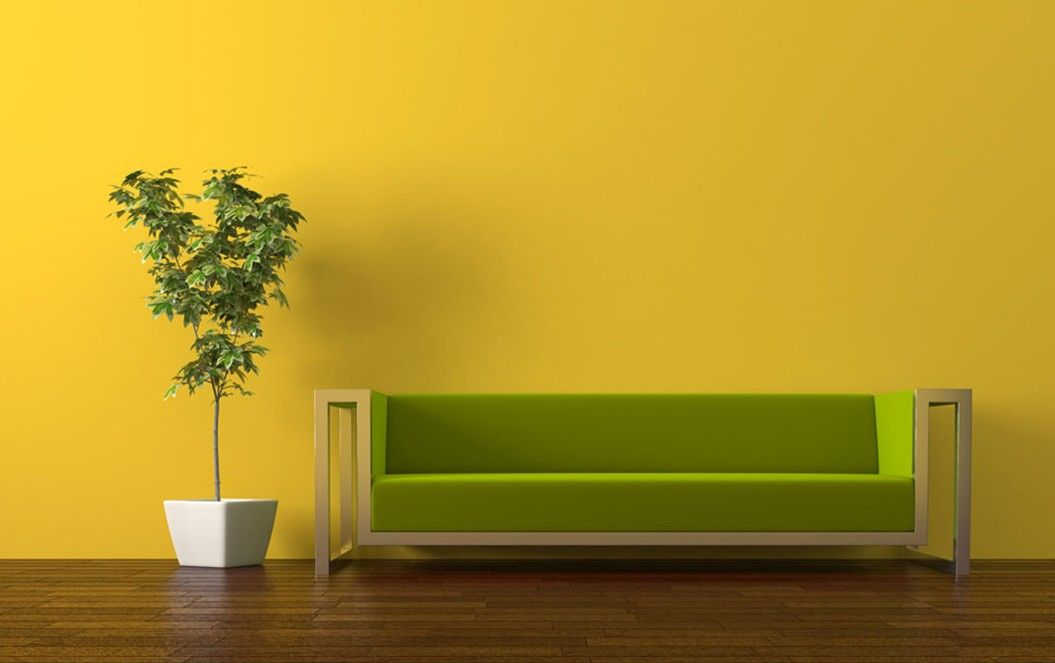 yellow walls Pale yellow TV wall and gray sofa for living room - yellow living room walls