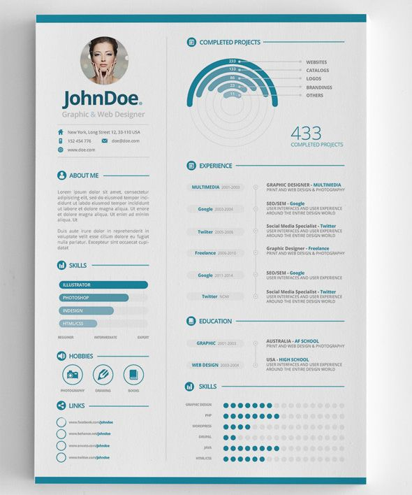 3-Piece Clean Infographic Resume Misc Pinterest Infographic - clean resume templates