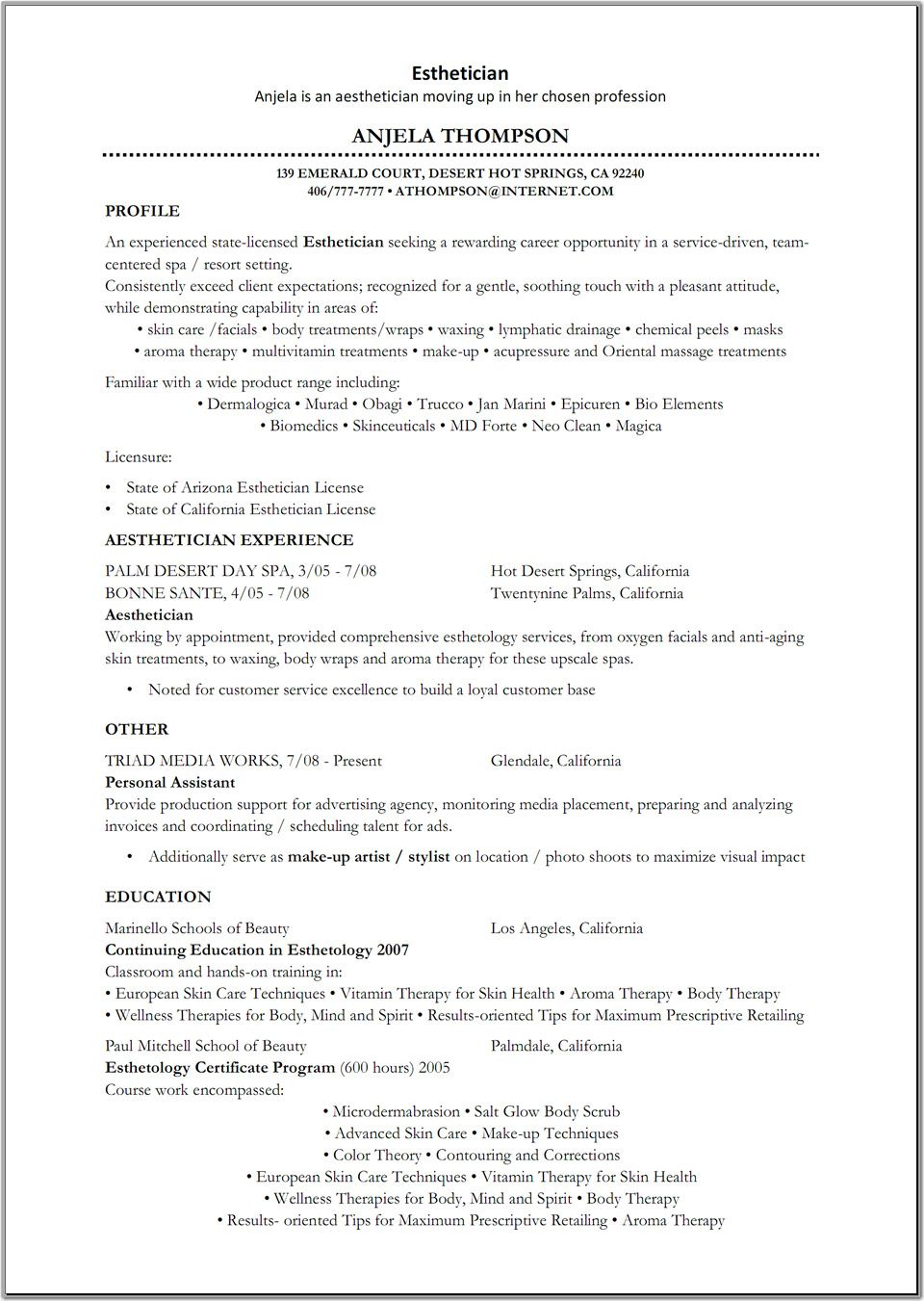 resume cover letter examples for estheticians