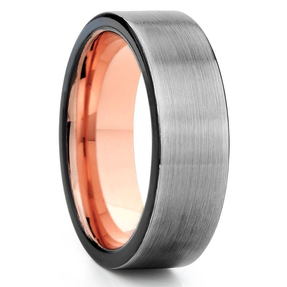 grey tungsten wedding bands Grey Tungsten Wedding Band Rose Gold Tungsten Ring Gunmetal Gray Black Edges
