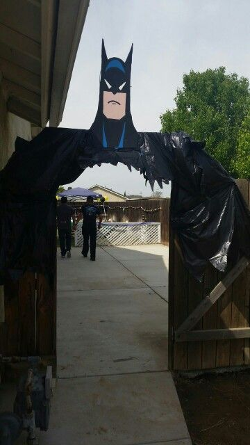 Batman Entrance Used Cardboard And Garbage Bags Held Up