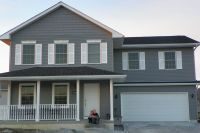 Front view of My Dark Gray house with white shutters. WIll ...