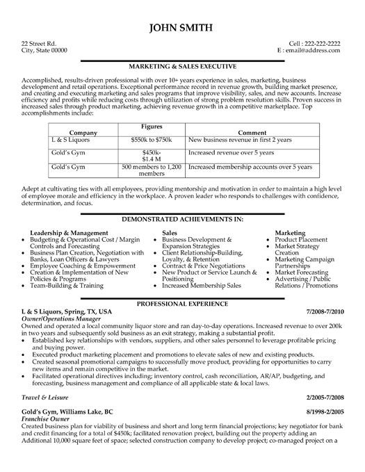 Click Here to Download this Marketing and Sales Executive Resume - sales executive resume
