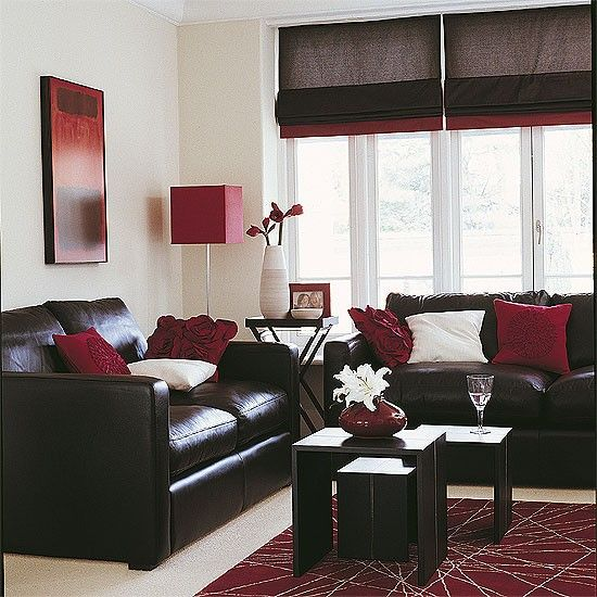 Sleek living room Chocolate living rooms, Red accents and Living - red and brown living room