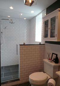 Thermostatic rain shower / Slate tiles / Beveled subway ...