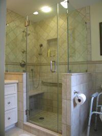 Frameless shower enclosure, L shape with high knee-walls ...