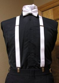 Black shirt with white suspenders and bow tie   10.15.17 ...