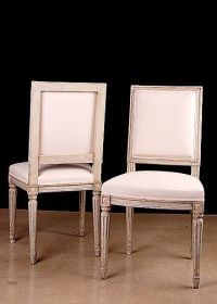 Set of 6 French Antique Louis XVI-style Square-back ...