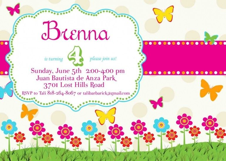 Free Butterfly Birthday Invitation Templates Skoenlapper - free birthday card template word