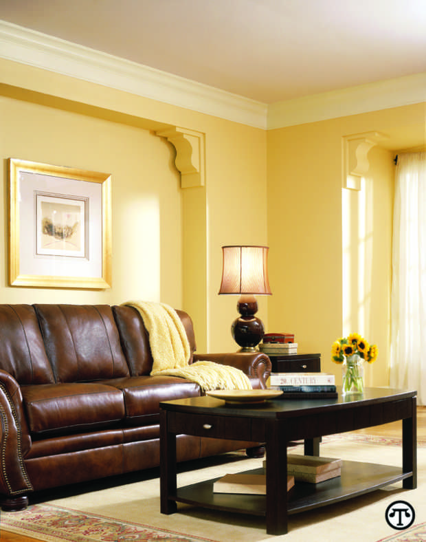 Simple Small Living Room Design with Yellow Wall Painting Vintage - yellow living room walls