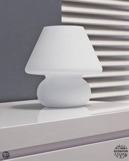 Tafellamp retro vintage bolvoet wit mat glas verlichting - leuchtende solar tisch foscarini
