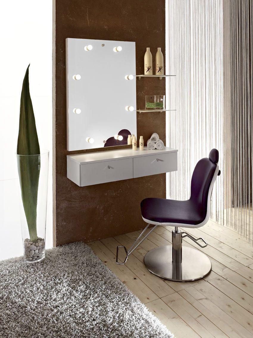Makeup table in contemporary minimalist dresser design bedroom
