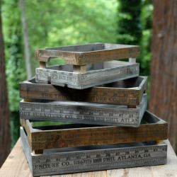 Wood Yardstick Crates Set of 3a Set of Three Wooden Crates With