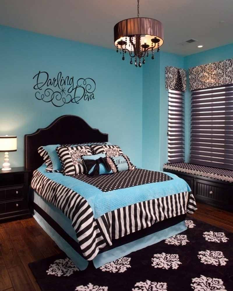 Entrancing teen girl bedroom with cozy bed and zebra print mixed polka dots comforter set and