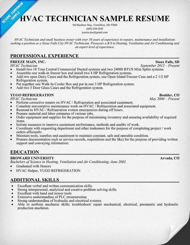 Sample Hvac Resume Unforgettable Hvac And Refrigeration Resume - sample hvac resume