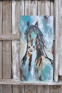 Abstract Contemporary Western Horse Art in turquoise and ...