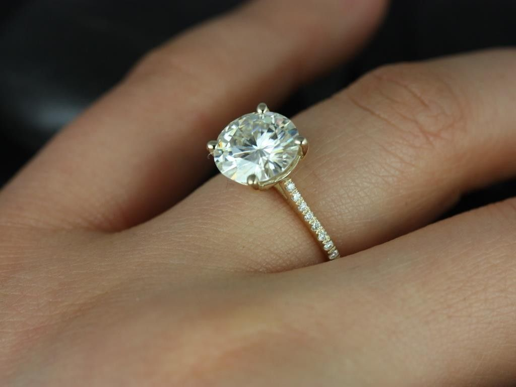 yellow gold wedding rings Rosados Box Eloise 9mm Yellow Gold Round FB Moissanite and Diamonds Cathedral Engagement Ring