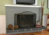 roman brick Fireplace Hearth Ideas | gray painted brick ...