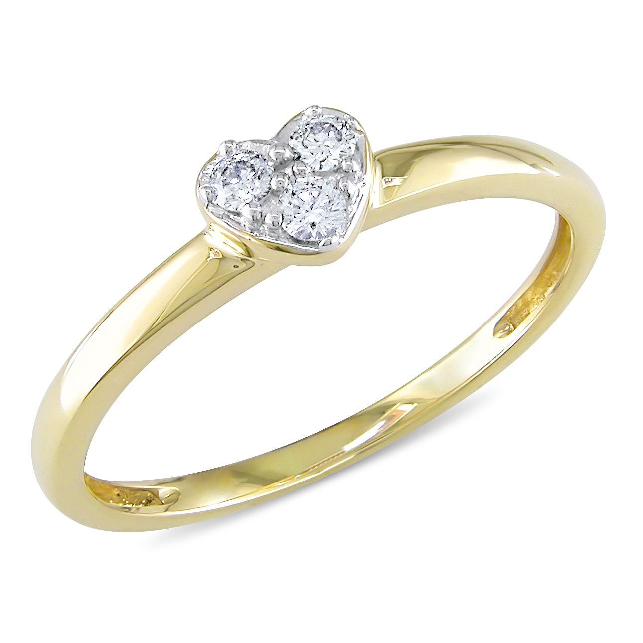 overstock wedding rings Miadora 10k Yellow Gold 1 10ct TDW Diamond Heart Promise Ring G H I2