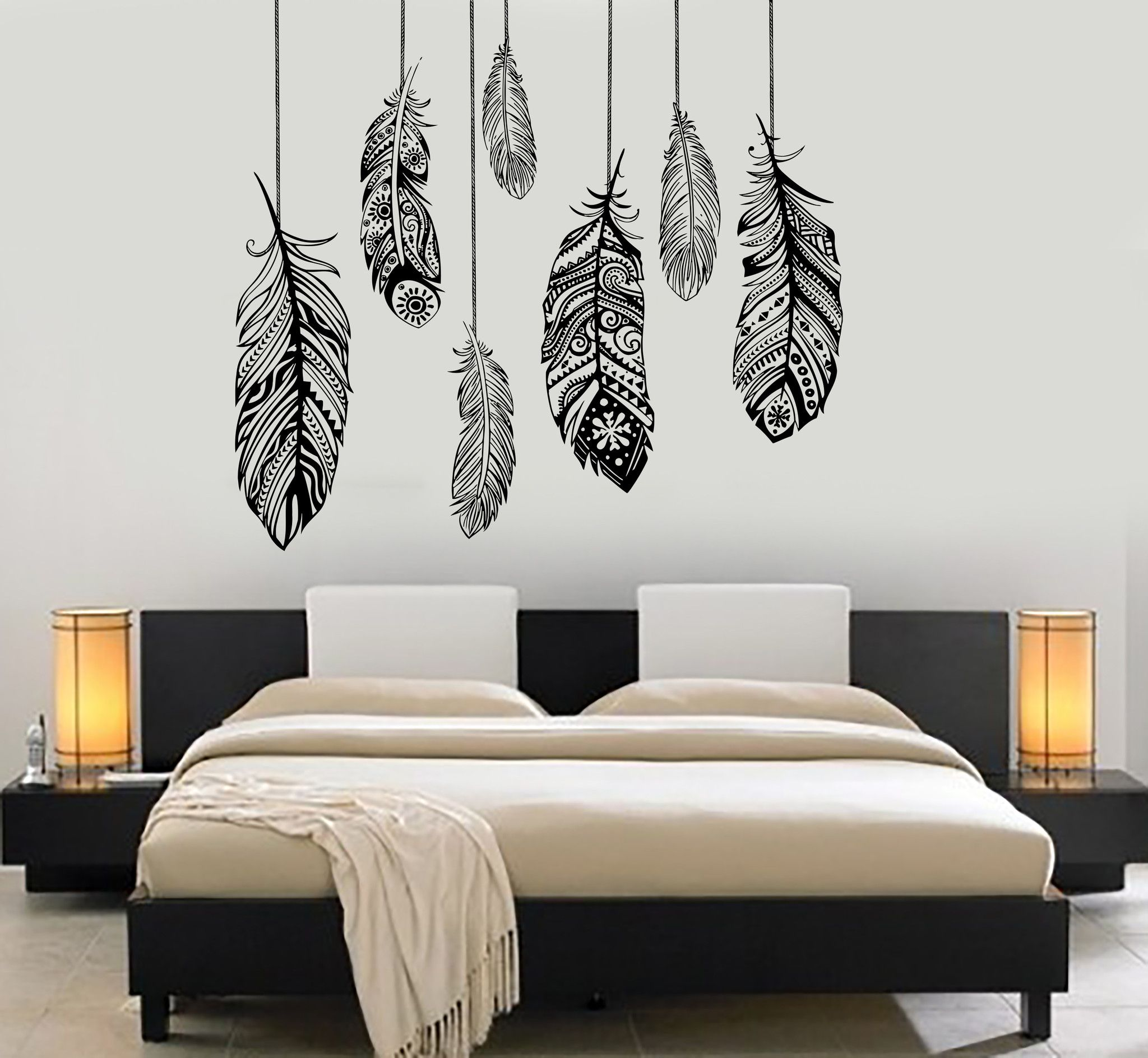 Vinyl Wall Decal Wall Vinyl Decal Feather Romantic Bedroom Dreamcatcher