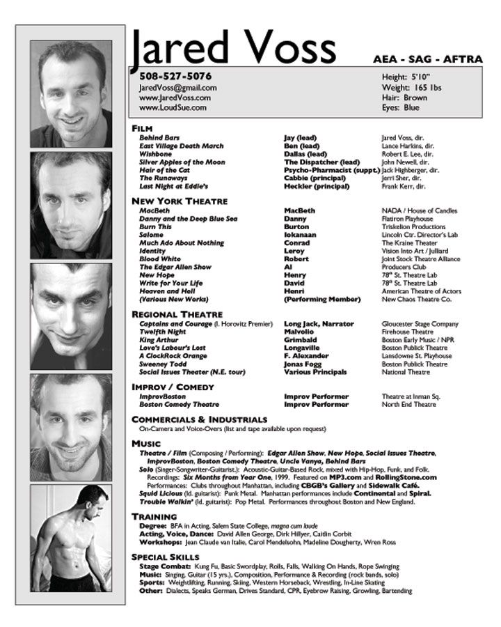 Sample Audition Resume Collection Of Solutions Sample Dance - professional actor resume