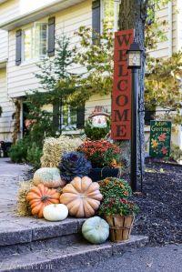 Fall Home Tour 2016 - Outdoor Fall Decor Ideas | Hay bales ...