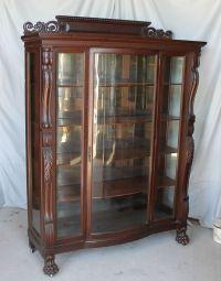 Large Antique Carved Oak China Curio Cabinet  original ...