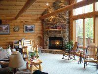Log Cabins Corner fireplace   Love Log Cabins American ...