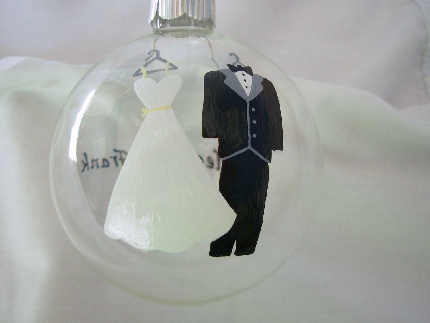 Wedding christmas ornament handpainted personalized bride and groom painted ornament wedding ornament
