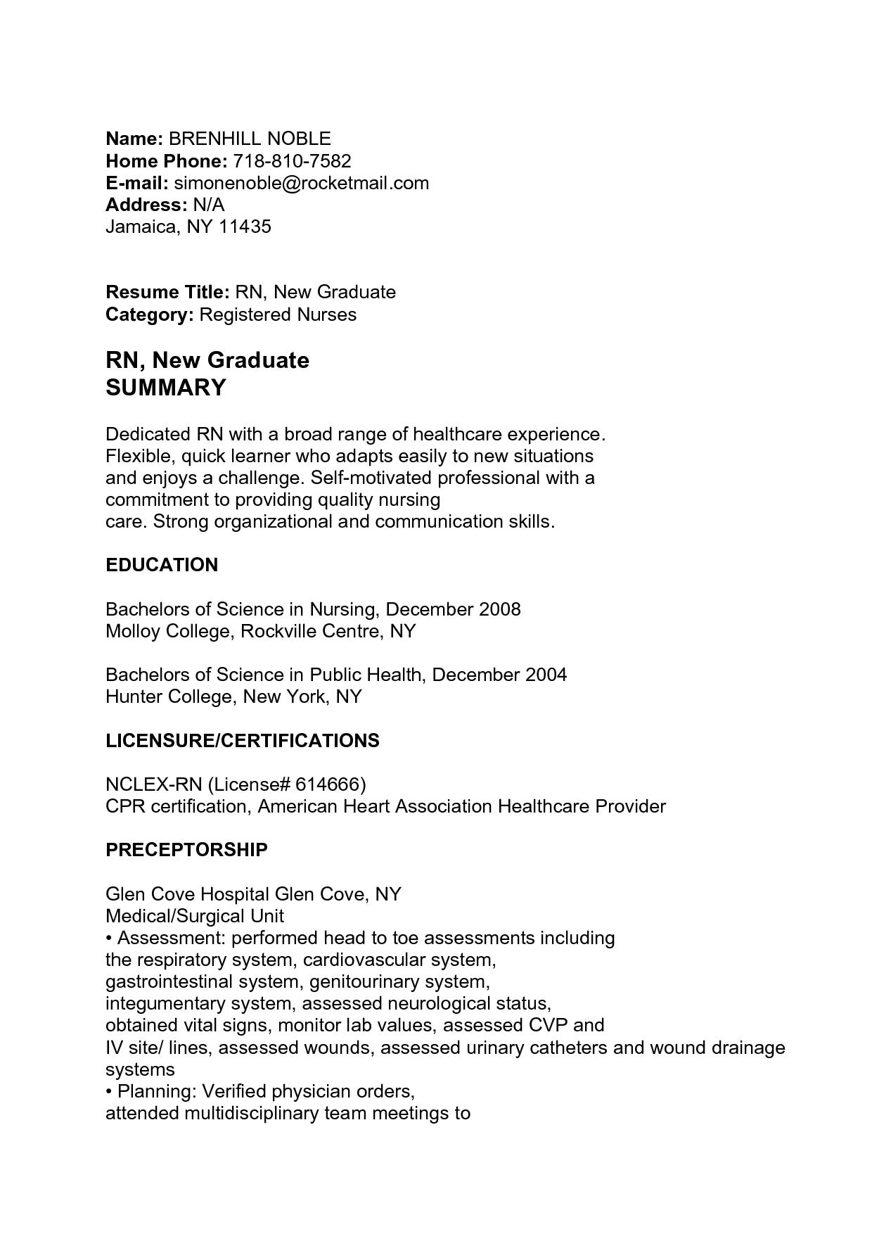 new rn grad resume cover letter resume examples nurse telemetry