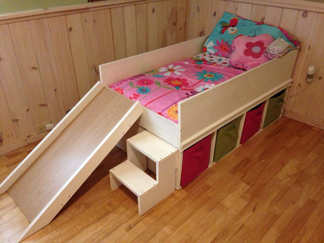 Childrens Beds With Storage Diy Toddler Bed With Slide And Toy Storage Diy Toddler