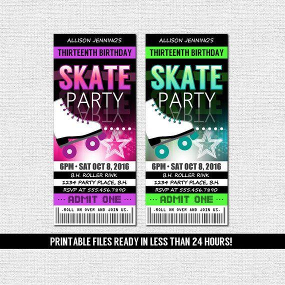 SKATE TICKET INVITATIONS Roller Skating Birthday Party (printable - printable ticket invitations