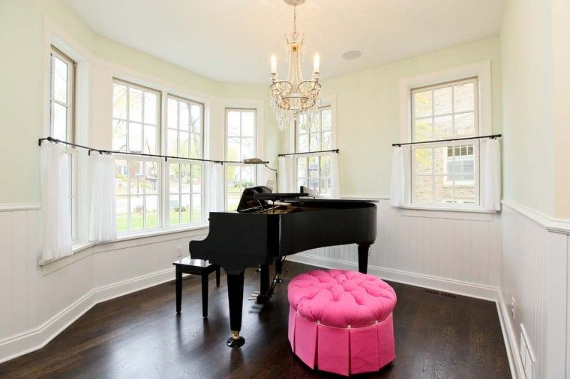 piano room with light yellow wall system white cafe curtains with - cafe curtains for living room