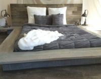 Weathered driftwood finish platform bed base ;CA King ...