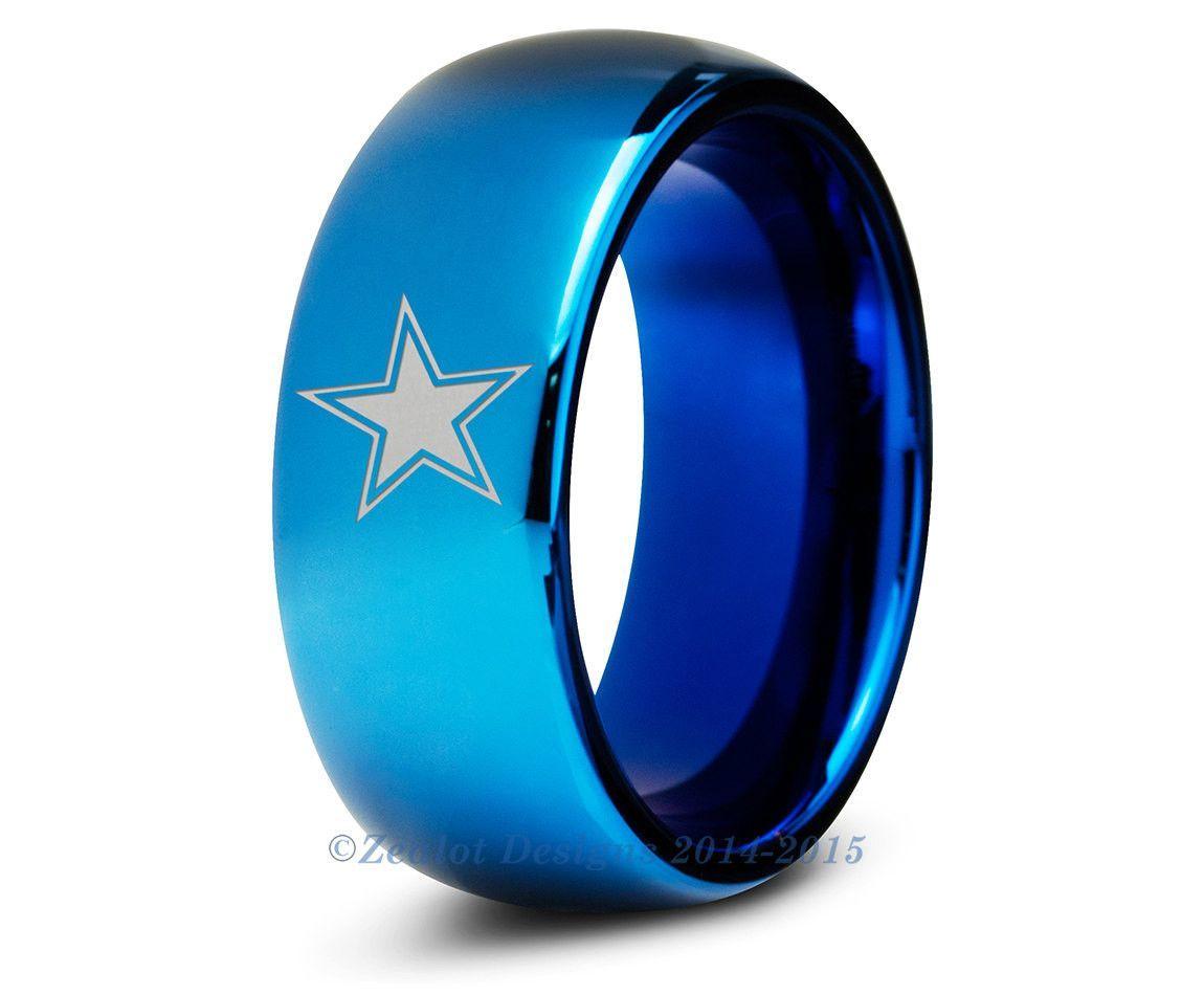sports wedding bands Dallas Cowboys Blue Tungsten Wedding Band Ring Mens Womens Polished Domed NFL Sports Fan Texas Anniversary