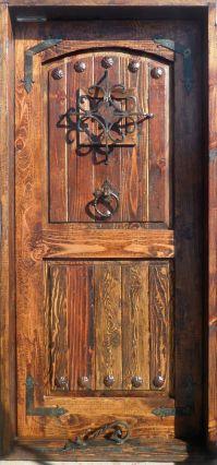 RUSTIC SOLID wood DOOR reclaimed lumber wrought iron ...