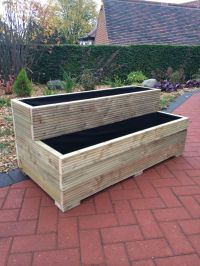 Large Wooden Garden Step Planter Trough Two Tier Veg Bed ...