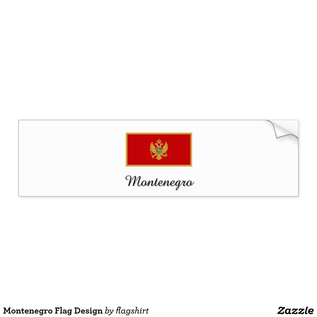 Montenegro flag design car bumper sticker