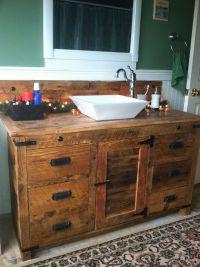 Barnwood vanity with vessel sink. | Rustic Vanities ...