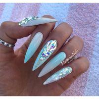 Mint blue ombr stiletto nails summer design Swarovski ...